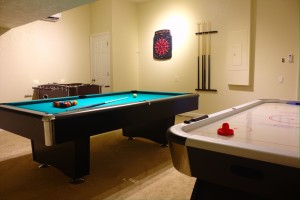 New Game Room With Pool Table, Foosball, air hockey and dart board