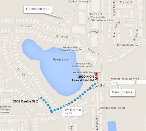 Directions From Villa By The Castle To The Windsor Hills Parking Lot at the Clubhouse