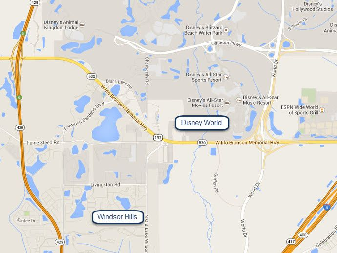 Windsor Hills Resort Location Map - See how close Windsor Hills Resort Is To Walt Disney World
