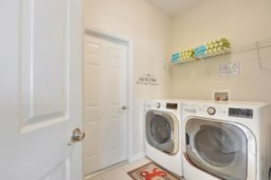 The laundry room has a brand new mega capacity washer and dryer for your use