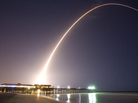 The View Of A Missile Launch From Cocoa Beach